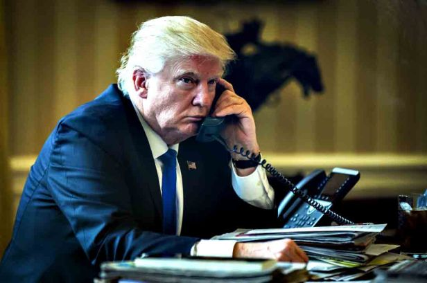 President Trump Takes Phone Calls From Foreign Leaders In The Oval Office